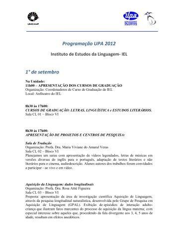 Programação - IEL - Unicamp