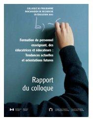 Rapport du colloque - Conseil des ministres de l'Éducation du ...
