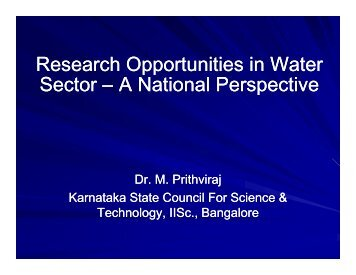 Research Opportunities in Water Sector - Karnataka State Council ...