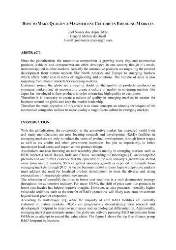 Joel Soares dos Anjos, MSc General Motors do Brasil E-mail ...