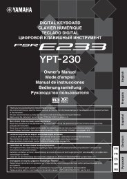 PSR-E233/YPT-230 Owner's Manual - Yamaha