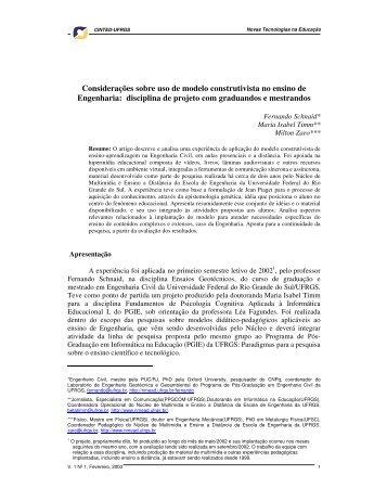 Considerações sobre uso de modelo construtivista no ... - cinted/ufrgs