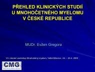 Přehled klinických studií u MM v ČR - CMG