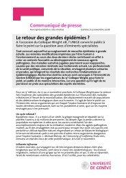 Communiqué de presse Le retour des grandes épidémies ? - EPFL