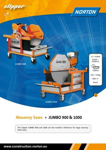 Masonry Saws JUMBO 900 & 1000 - Norton Construction Products