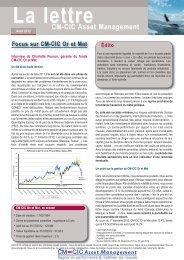 La lettre - CM-CIC Asset Management