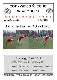 ROT - WEISS ECHO Saison 2010 / 11 S tadionzeitung