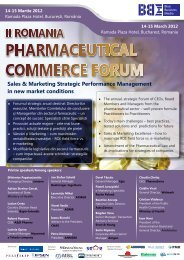 II Romania Pharmaceutical Commerce Forum - Blue Business Media