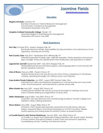 Jasmine Fields - resume - NU CMAA