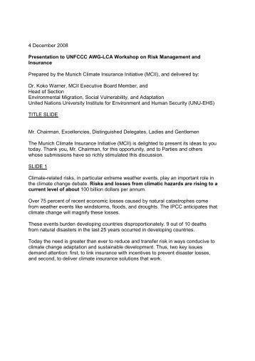 Read the transcript - Munich Climate-Insurance Initiative