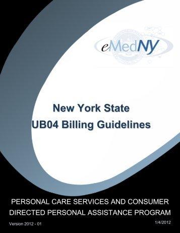 New York State UB04 Billing Guidelines - eMedNY