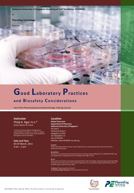 Good Laboratory Practices and Biosafety Considerations - NUSAGE
