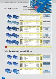 Plastic shelf containers for depth 300 mm Steel shelf containers
