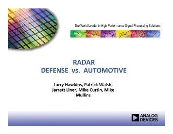 RADAR DEFENSE vs. AUTOMOTIVE - Microwave Journal