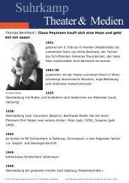 Claus Peymann kauft sich eine Hose und geht mit mir ... - Suhrkamp
