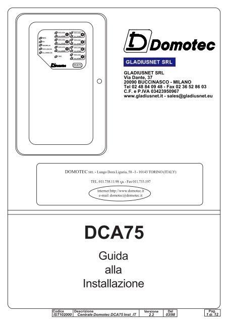 manuale tecnico centrale dca75 gladiusnet s r l