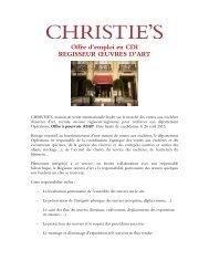 Chrisite's France recherche dans le cadre de son ... - Cipac