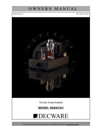 owners manual - Decware