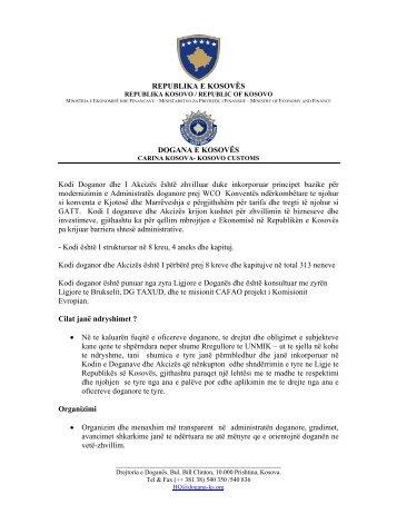 REPUBLIKA E KOSOVËS DOGANA E KOSOVËS Kodi Doganor dhe ...