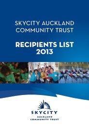 RECIPIENTS LIST 2013 - SKYCITY Auckland