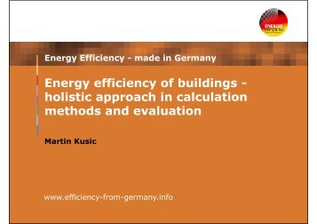 Energy efficiency of buildings - holistic approach in calculation ...