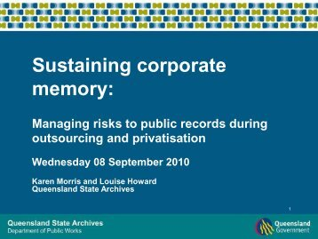 Managing risks to public records during outsourcing and privatisation