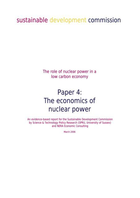 Paper 4: Economics of Nuclear Power - Sustainable Development ...