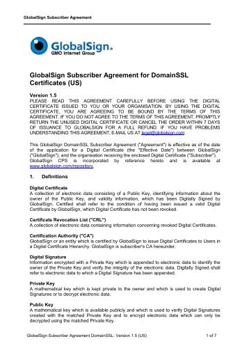 GlobalSign Subscriber Agreement for DomainSSL Certificates
