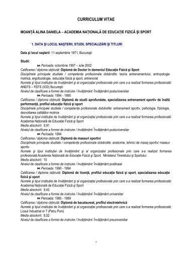 C.V. Moanta Alina - UNEFS Bucuresti