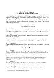 EXS 297 Motor Behavior Rubrics for Lab Performance Assessment ...