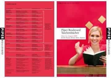 Piper Boulevard Taschenbücher Adressen - Piper Verlag GmbH