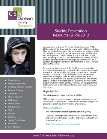 Suicide Prevention Resource Guide 2012 - Children's Safety Network