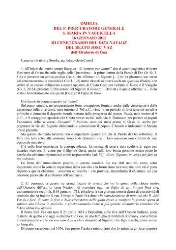 omelia - Confederazione dell'Oratorio di San Filippo Neri
