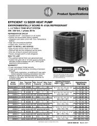 R4H3 R-410A 13 Seer HP Specifications - Documents Indexing