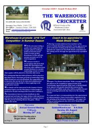 Latest Warehouse Cricket Newsletter (30th June 2013)
