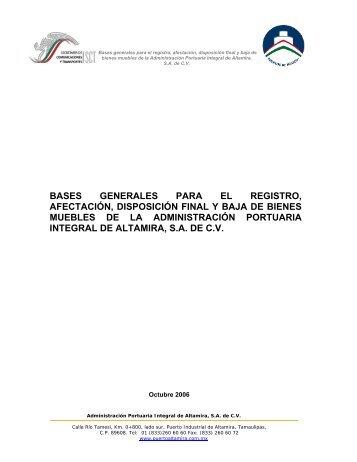 Bases generales para el registro, afectación, disposición final y baja ...