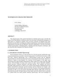 TECHNIQUES OF ULTRAFAST SPECTROSCOPY ... - Mazur Group