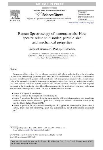 Raman Spectroscopy of nanomaterials - institut de chimie et des ...