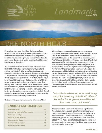 2010 Summer Newsletter - Five Valleys Land Trust