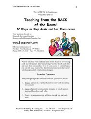 Teaching from the BACK of the Room! - Sharon Bowman