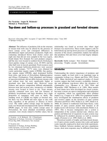 Top-down and bottom-up processes in grassland and forested streams