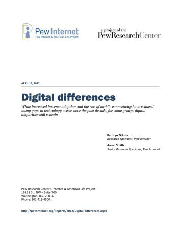 Digital differences - Pew Internet & American Life Project