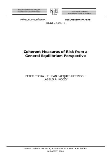 Coherent Measures of Risk from a General Equilibrium Perspective