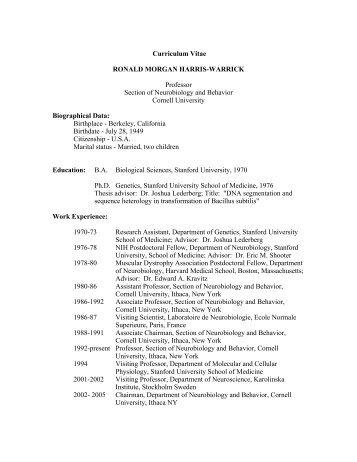 Curriculum Vitae RONALD MORGAN HARRIS-WARRICK Professor ...