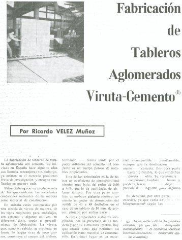 Fabricación de tableros aglomerados viruta- cemento