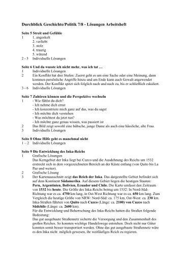 Durchblick Geschichte/Politik 7/8 - Lösungen Arbeitsheft