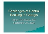 Challenges of Central Banking in Georgia - Presentation - ISET