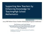 Supporting New Teachers by Enhancing Knowledge for ...