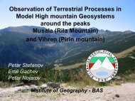 Observation of Terrestrial Processes in Model High mountain ...