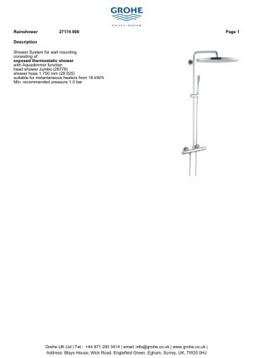 exposed thermostatic shower with Aquadimmer function ... - GROHE